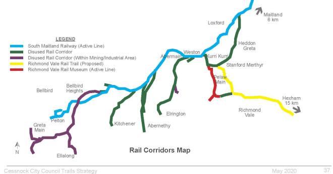 Cessnock Area 2020 05 Cessnock Council Trails Reserves Strategy Rail Map web