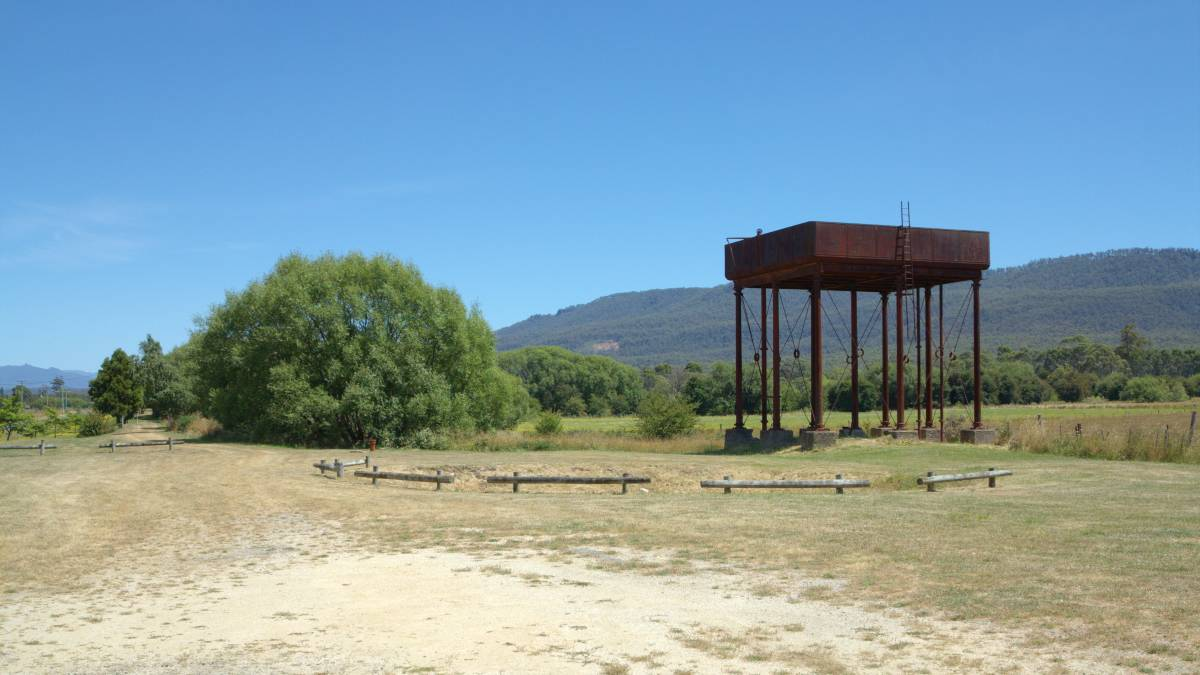The water tank at St Marys station looking towards Fingal. (2014)