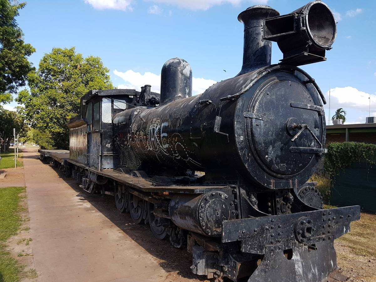 Steam locomotive on display near the bridge, complete with indigenous artwork. (Garry Long 2018)