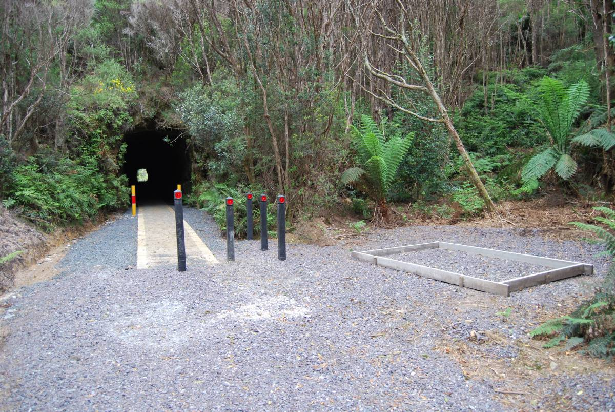 The Northern entrance of the tunnel with the beginnings of a structure, possibly an interpretive sign. (Dec 2010)