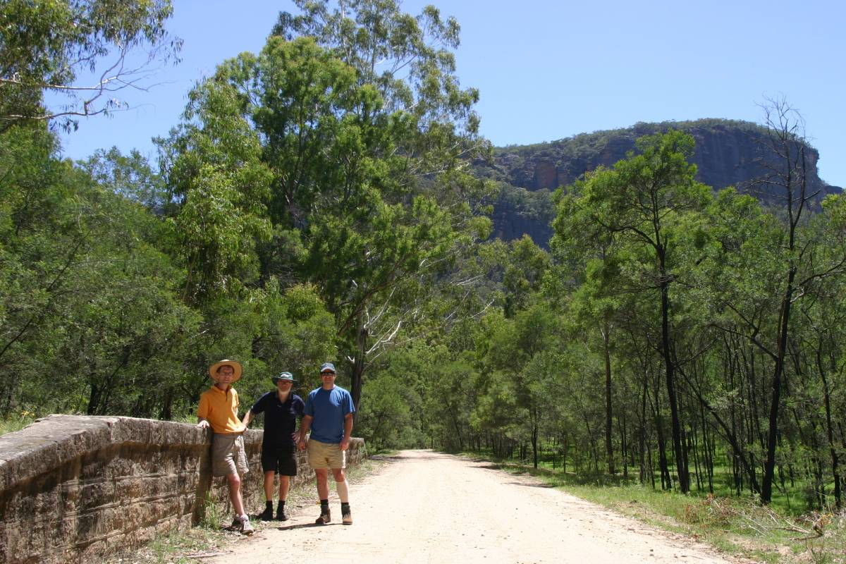 At the Newnes station site with the escarpment towering all around (2009)