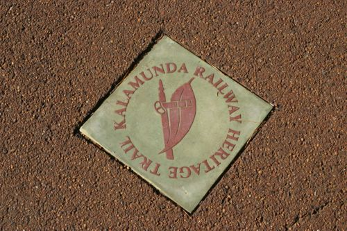 These footpath markers identify the route of the trail through the Kalamunda town centre.