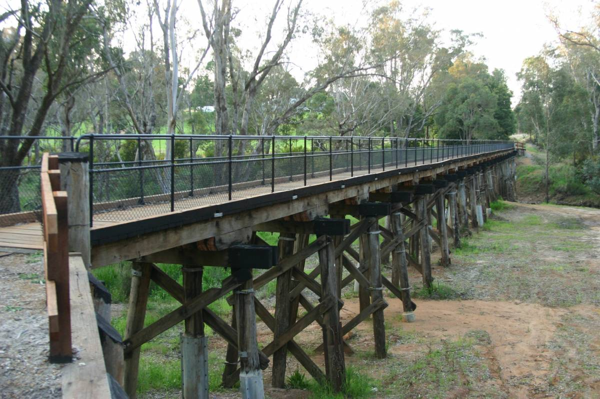 The southern end of the trail is at the railway bridge at Nannup