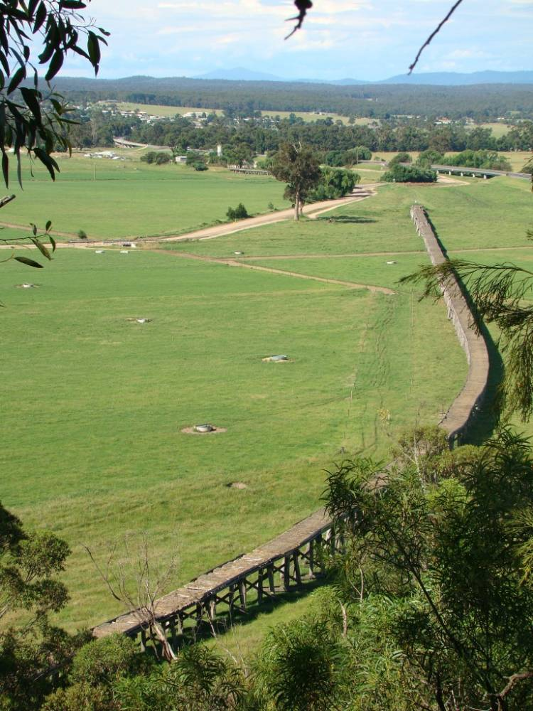 View from Burns Rd Grand View lookout of very long bridge into Orbost (Liz Mitchell)
