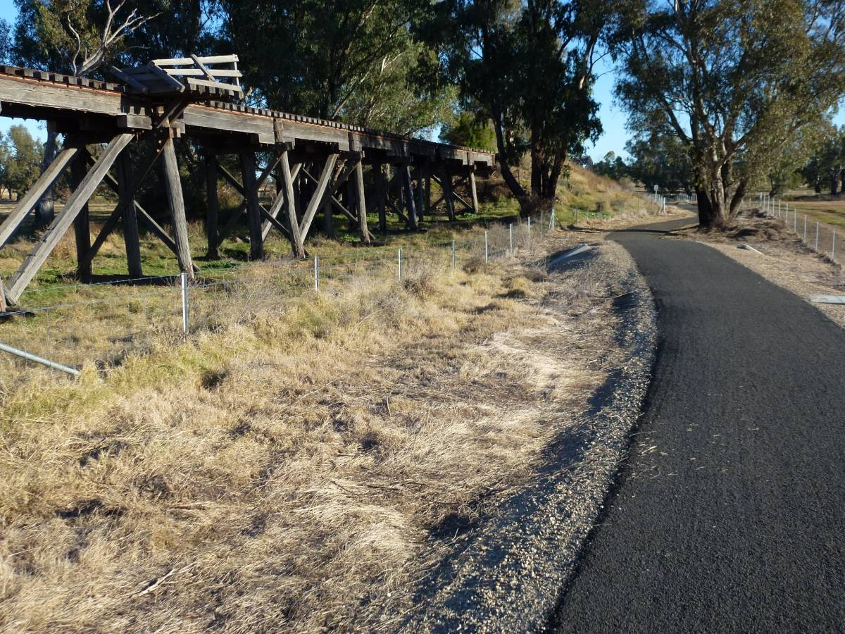 The old trestle railway bridge on the trail May 2012