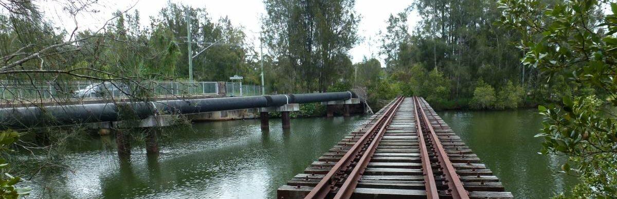 The old rail bridge still intact with rails (2013)