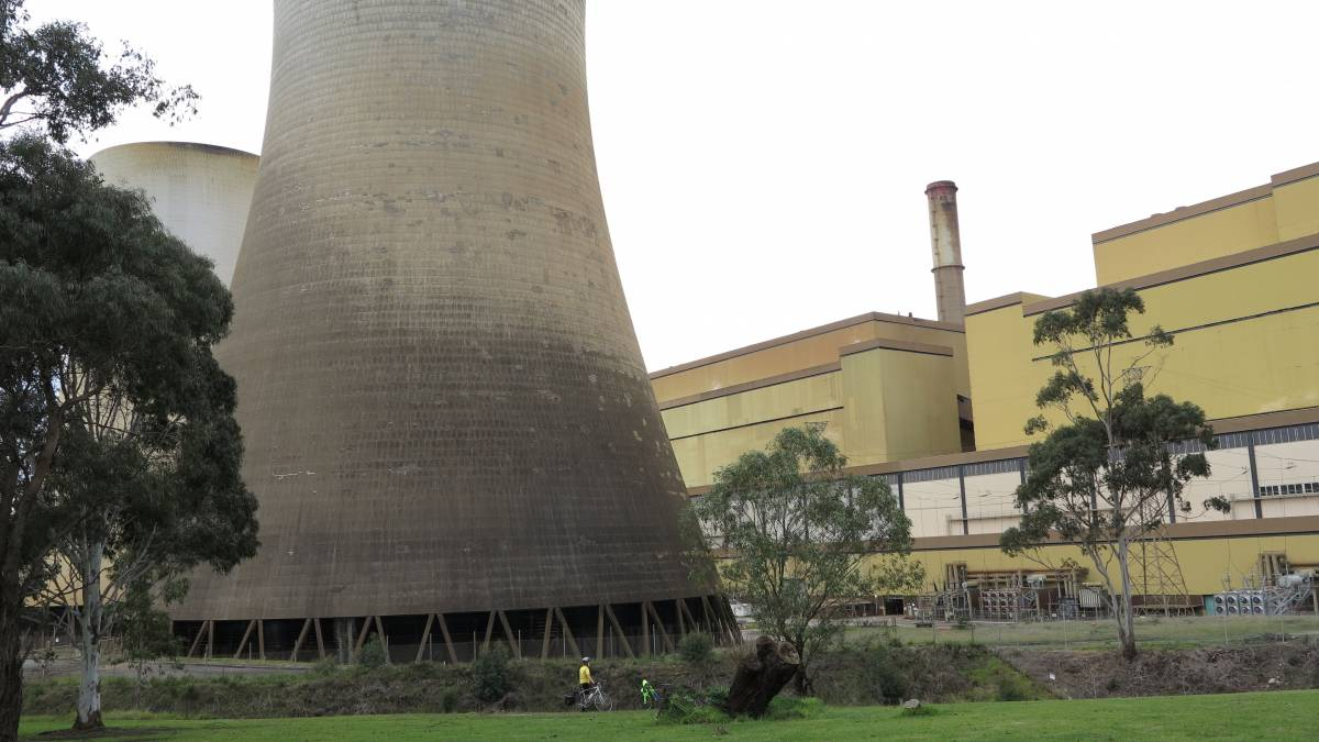 The cooling towers at Yallourn are an imposing sight (there is a rider at the bottom)