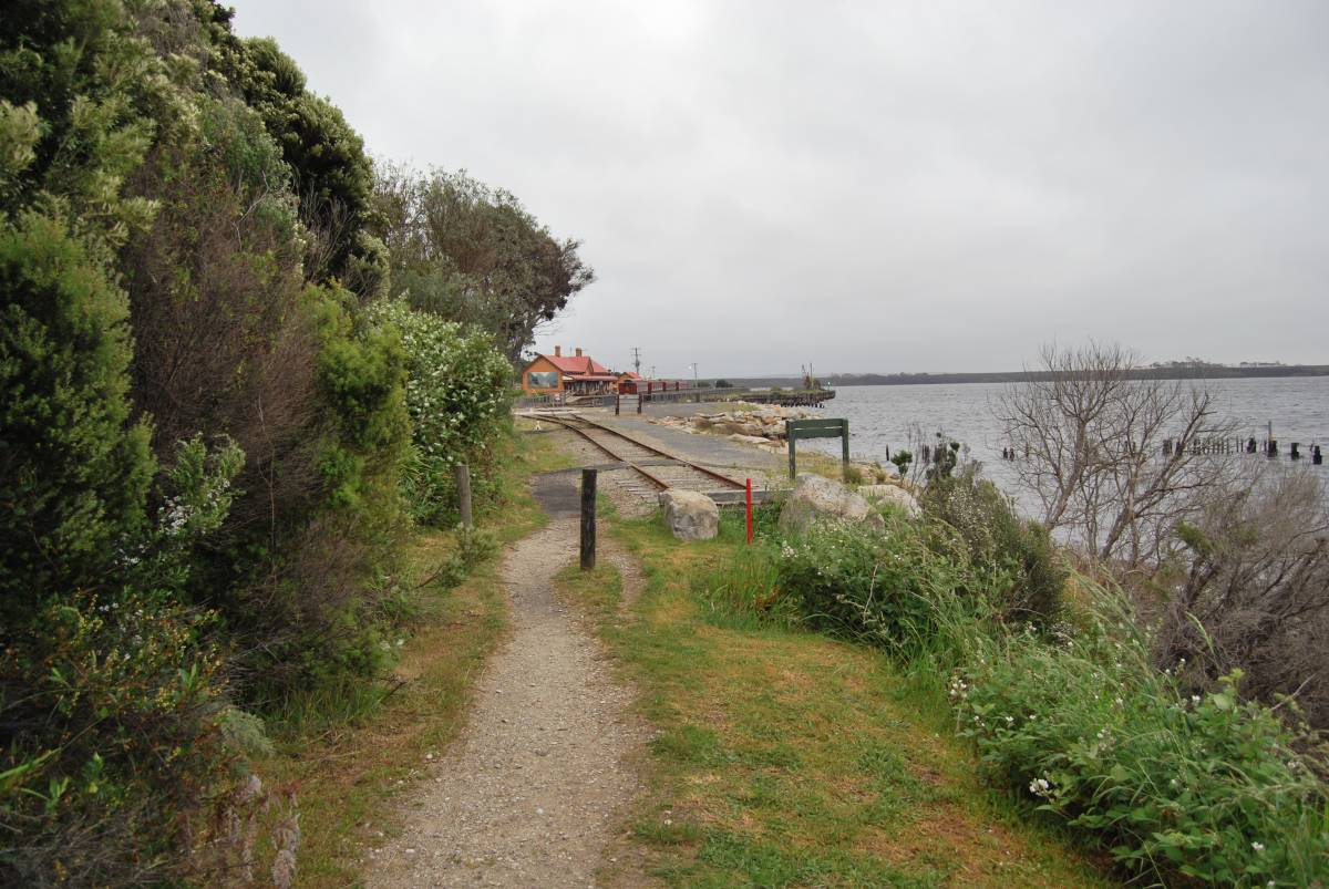 The trail head at Regatta Point Railway Station, the start of the Abt Railway to Queenstown.  (Dec 2010)