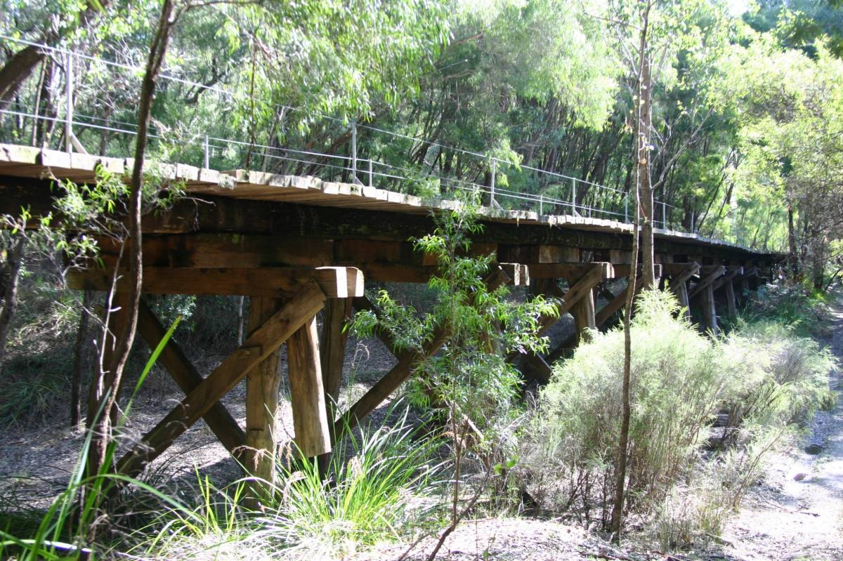 It is difficult to capture the length of the trestle bridge over the Warren River