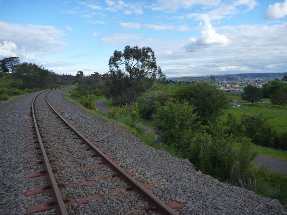 The disused railway to Tonganah, the Rocherlea Rail Trail and views toward Launceston
