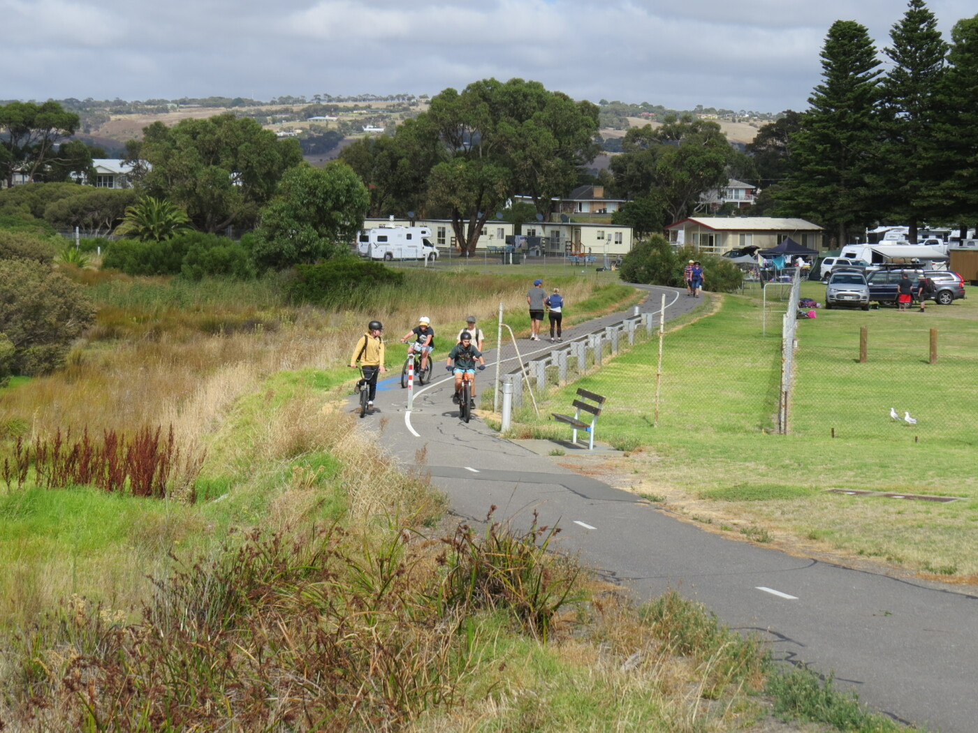 a busy bike trail near Victor Harbor Caravan Park 2020