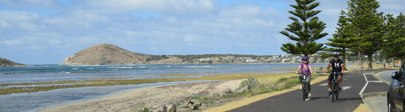 trail south of Victor Harbor with Rosetta Head in the distance 2020or