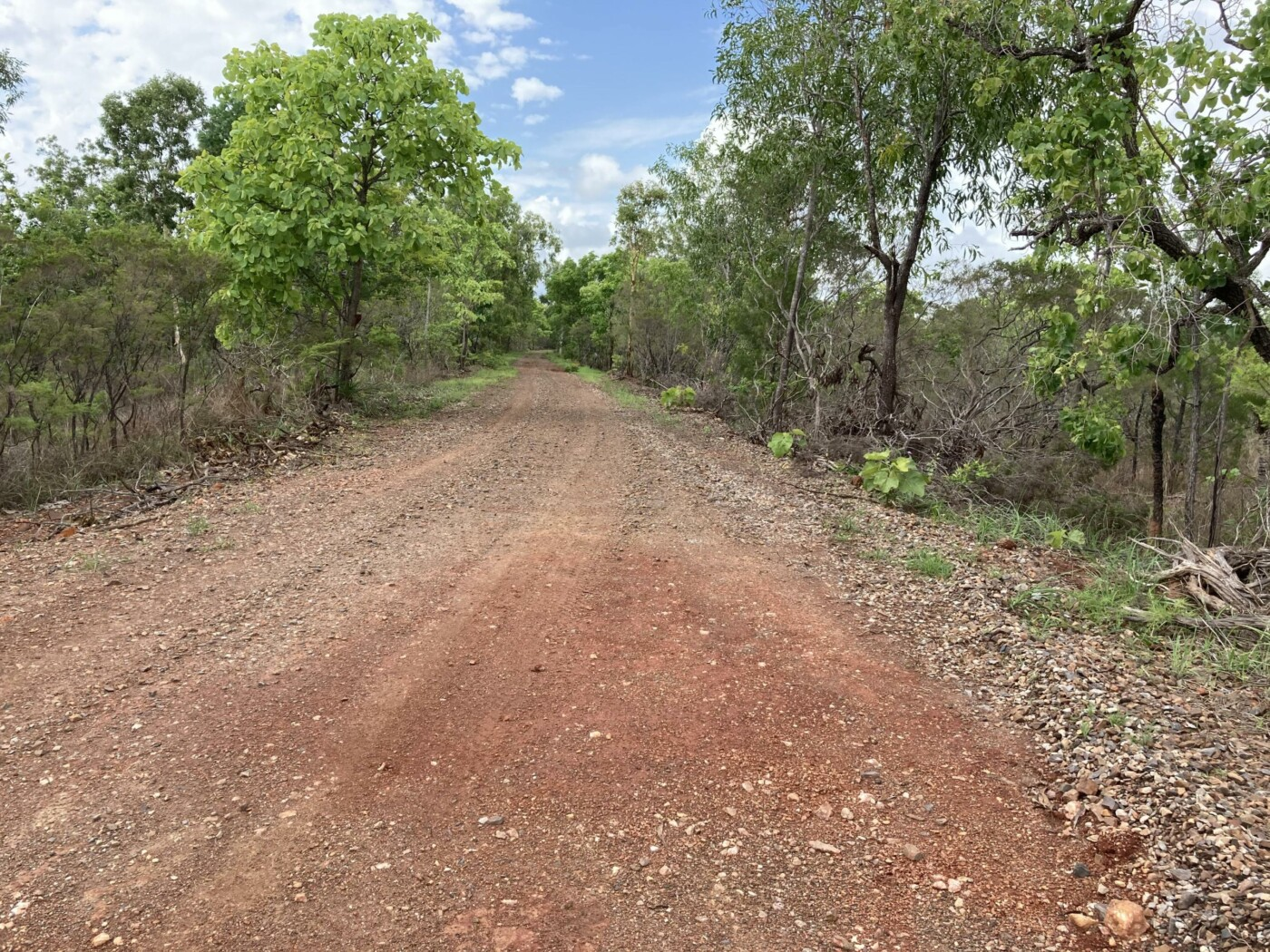 South of Darwin River the rail trail is an access road to rural properties (2020-10)