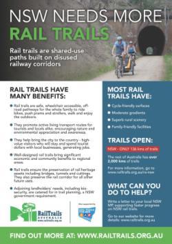 """New South Wales needs more Rail Trails""  – Rail Trails Australia's new flyer"
