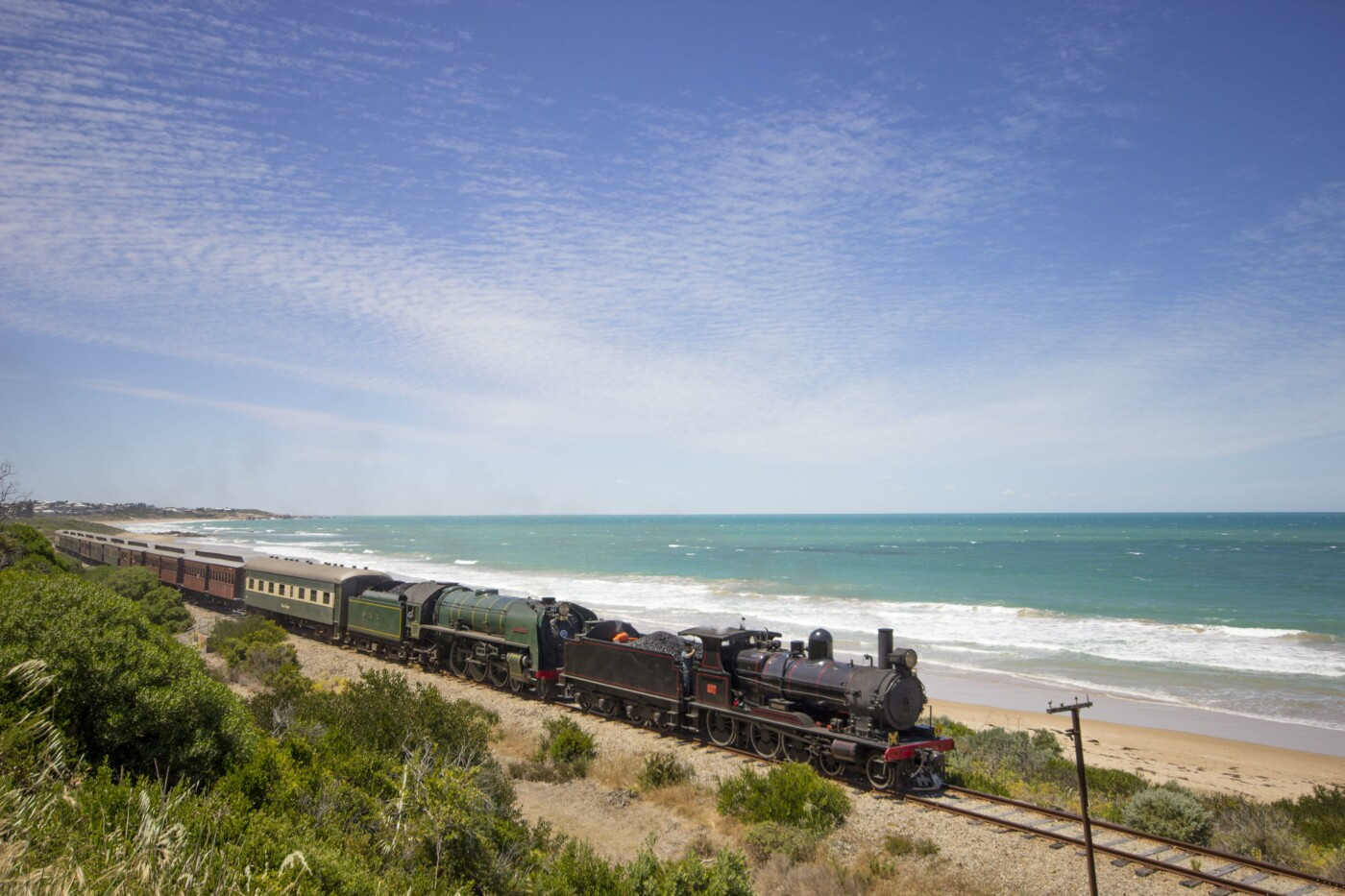 double steam train near Chiton Rocks (provided by Steam Ranger Heritage Railway)
