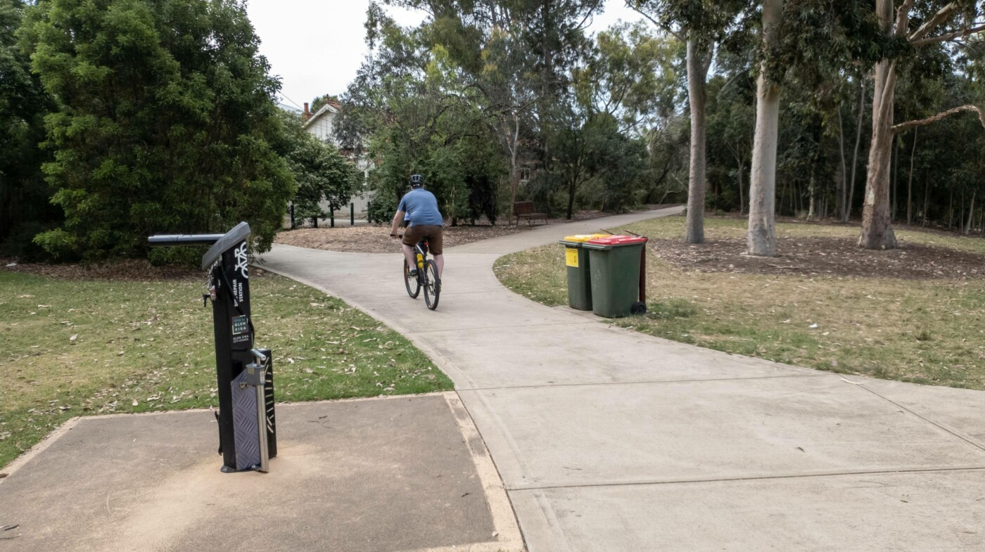 There are at least three bicycle repair stations along the rail trail, this one at Boyd Park (2020)