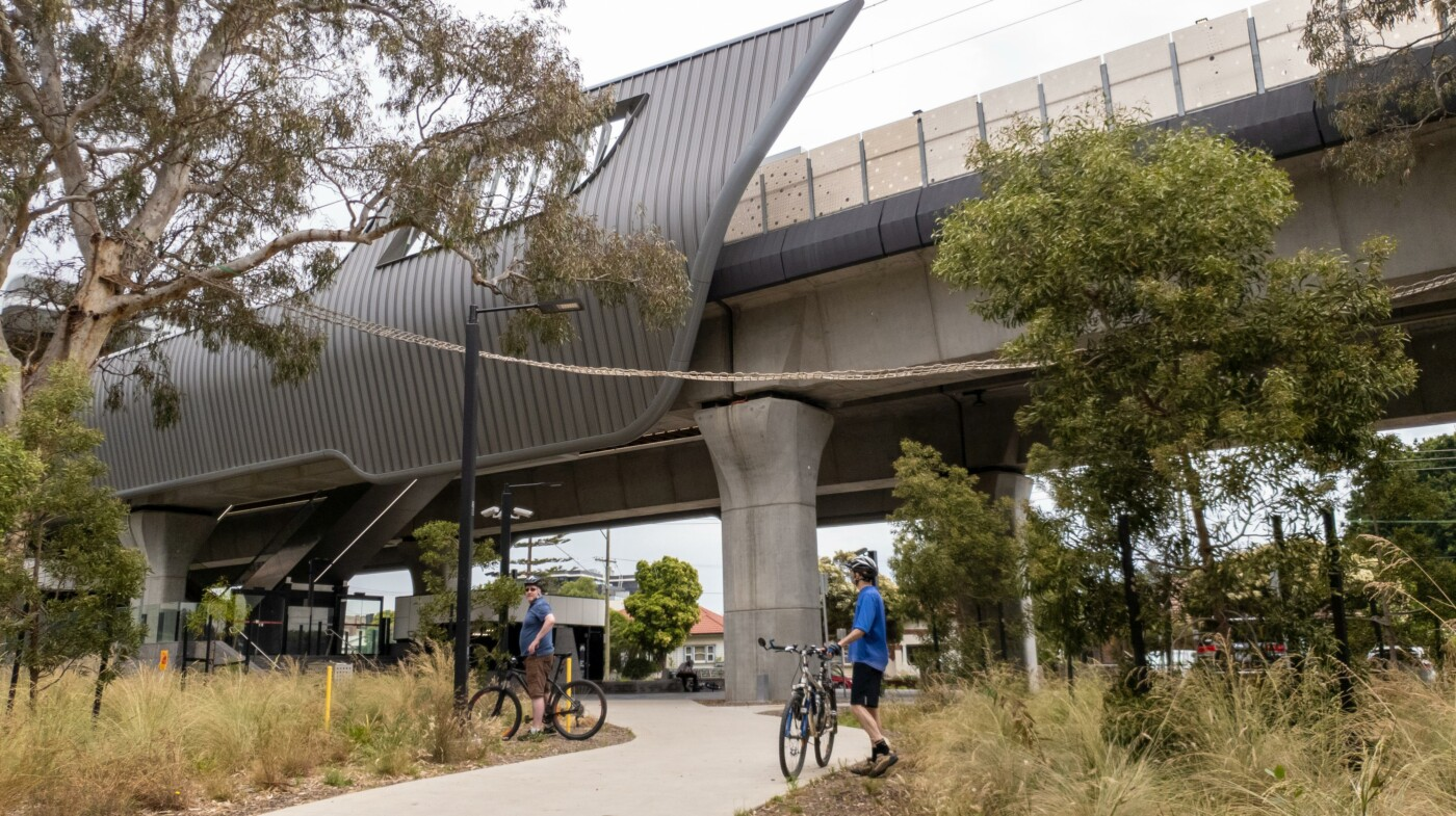 The impressive Hughesdale railway station at the start of the rail trail (2020)
