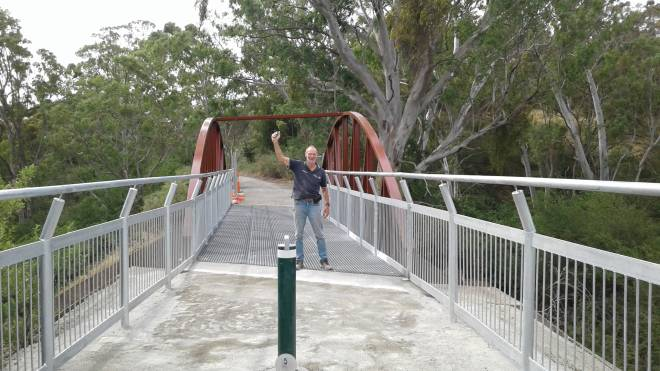 Allan Mayfield Rieling Trail Committee of Management Chairman on the new Quarry Road Bridge