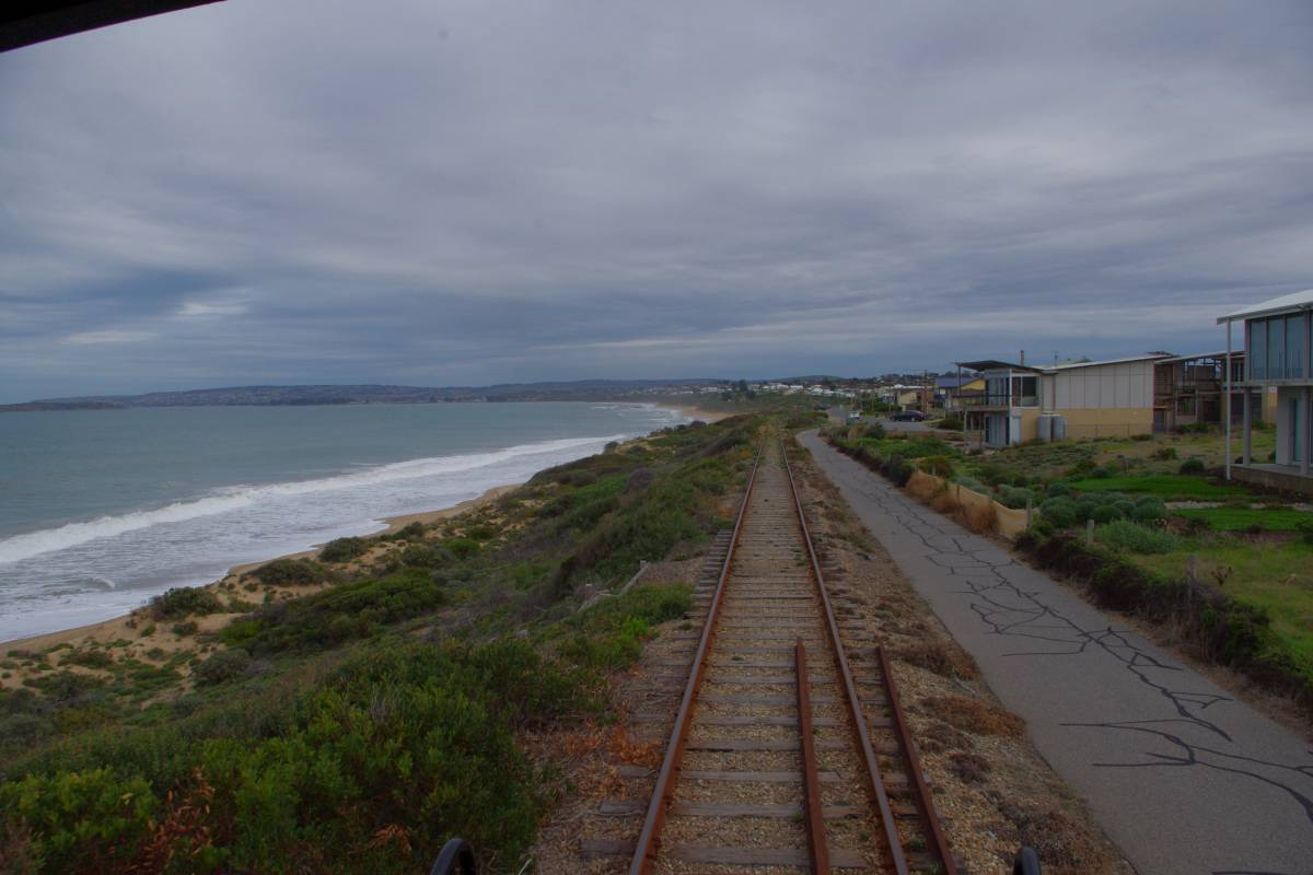 The sea, The rail and the trail together from the back of the Cockle Train