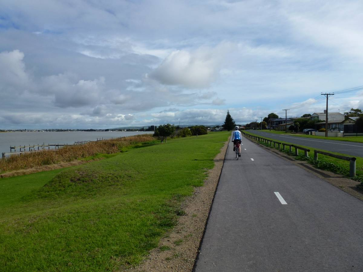 The start of the trail near Goolwa (Murray River on left)
