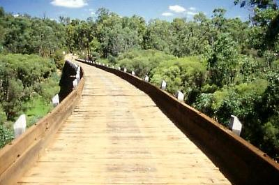 Restored trestle bridge near Dwellingup. Hand rails are not an issue in WA. William Bebbington
