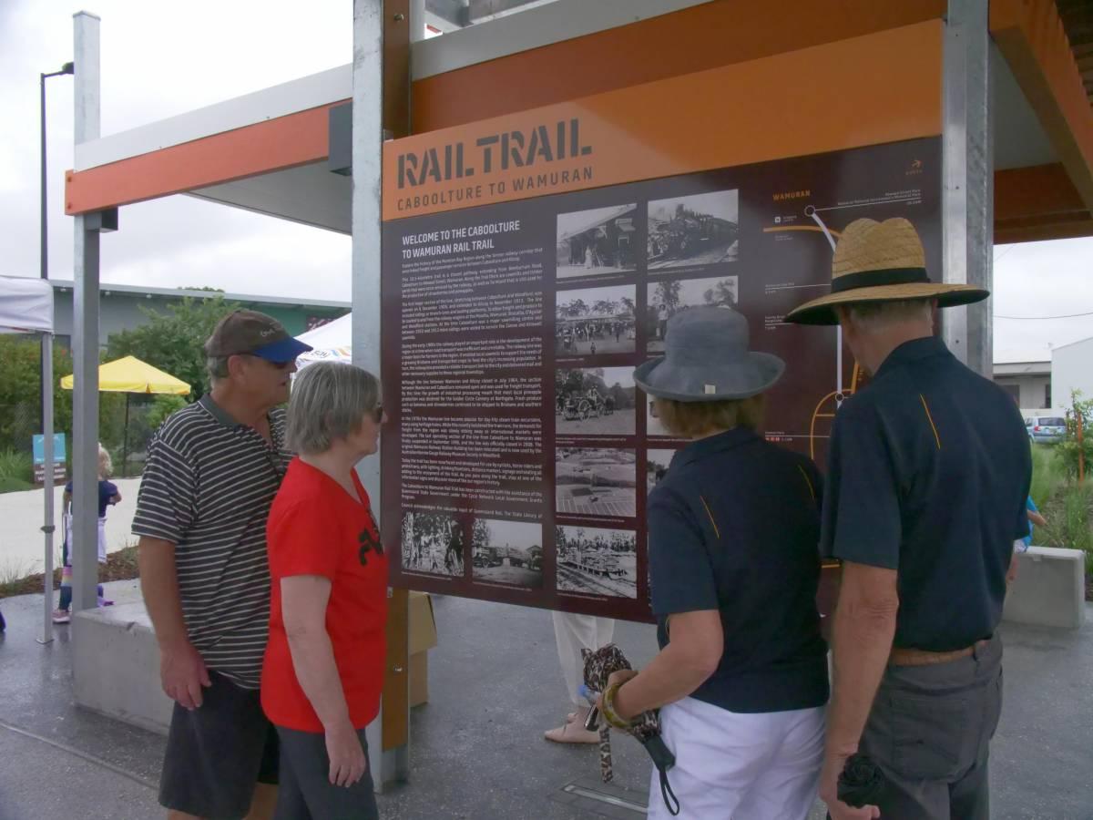 Interpretive signage portrays the history of the rail trail  (2019, Moreton Bay Regional Council)