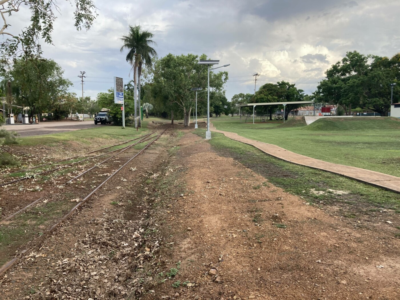 The start of the rail trail looking back to the Water Gardens (2020)