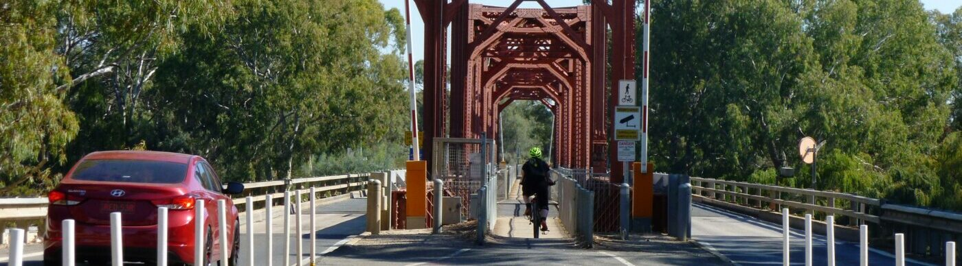 Paringa bridge. note the cycle path is located in the middle of the bridge 2020