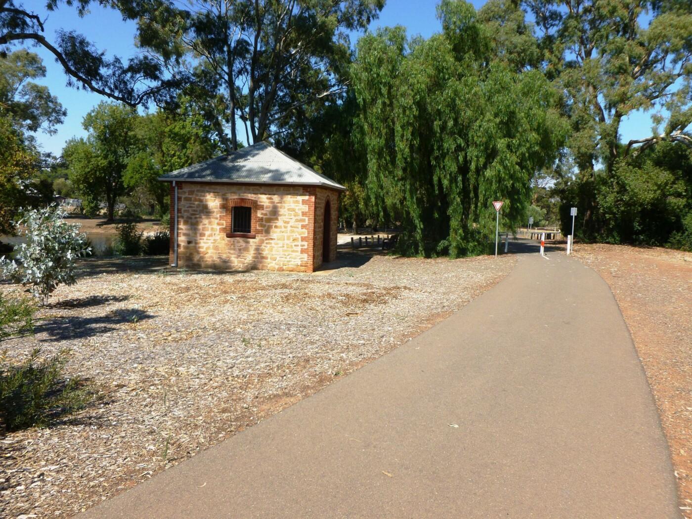 steam train pump house next to Davidson Reserve pond 2020