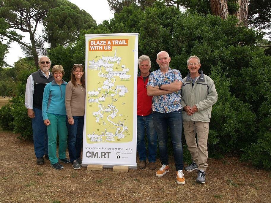 Castlemaine Maryborough Rail Trail group: L-R: Bob Forde, Julie Flynn (author), Christine Christie, Mick Evans, John Carruthers, Lou Citroen. Missing: Mark Brown