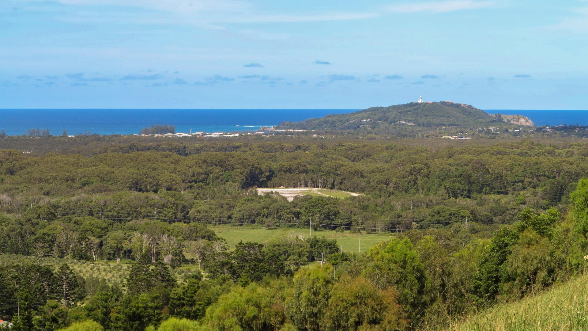 Looking from the rail corridor above Byron Bay towards the famous lighthouse (2016)